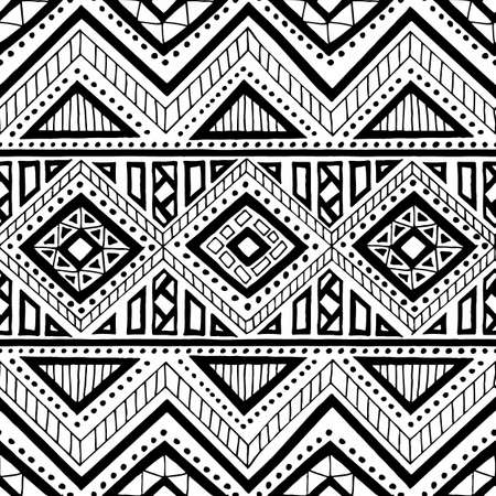 Seamless ethnic pattern. Ornament hand-drawn ink. Tribal motifs. Print for textiles. Black and white vector illustration.