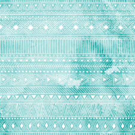 indian paint brush: Geometric seamless pattern. Blue and white colors. Watercolor texture. Ethnic and tribal motifs. Vector illustration.