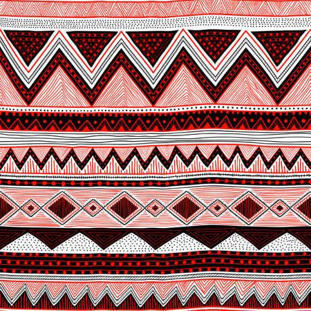 Seamless striped pattern. Ethnic and tribal motifs. White, black and red geometric elements. Handmade. Vector illustration. Illusztráció