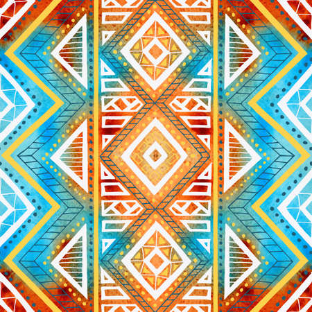 Seamless geometric background. Grunge watercolor texture. Print for textiles. Ethnic and tribal motifs. Brown, white, blue, yellow and orange colors. Vector illustration.