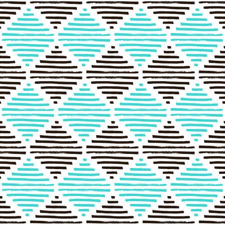 Motif géométrique simple. Couleurs marron, bleu clair et blanc. Diamants vintage. Texture grunge Illustration vectorielle Vecteurs