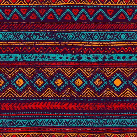 Seamless vintage pattern. Grungy texture. Ethnic and tribal motifs. Blue, orange, red and purple colors. Vector illustration.