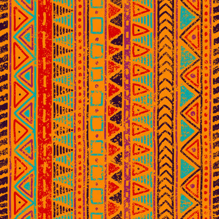 Seamless ethnic pattern. Grungy texture. Orange, blue, red and purple colors. Vintage vector illustration.