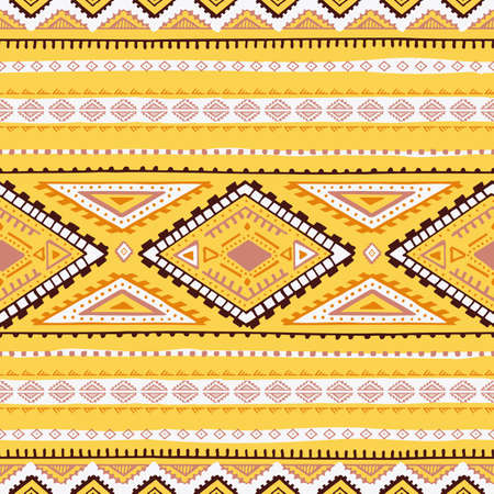 Seamless geometric pattern. Ethnic and tribal motifs. Print for textiles. Yellow, brown and white colors. Vector illustration. Illustration