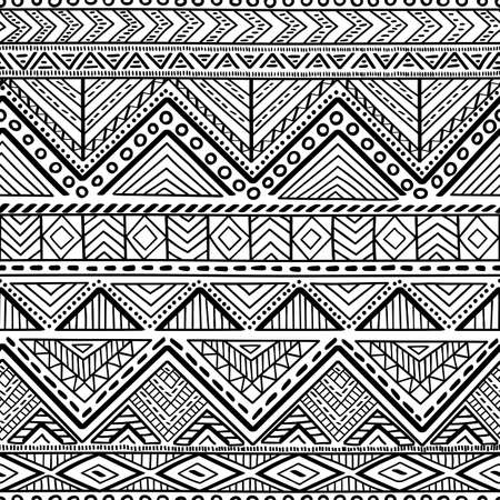 A Seamless ethnic and tribal pattern. Handmade. Horizontal stripes. Black-and-white print for your textiles. Vector illustration. Çizim