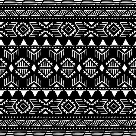 Seamless ethnic pattern. Aztec and tribal motifs. Ink geometric elements. Striped print for your textiles. Black and white vector illustration.