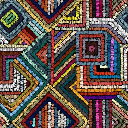 Haft - bezszwowy ornament. Kolorowe linie na czarnym tle. Wykonany ręcznie. Motywy etniczne i plemienne. Drukuj w stylu bohemskim. Ilustracji wektorowych.