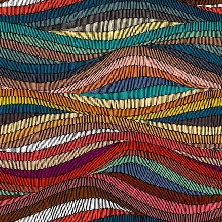 Reticolo ricamato senza saldatura, Stampa bolognese ondulata, Ornamento patchwork; Illustrazione vettoriale. Vettoriali