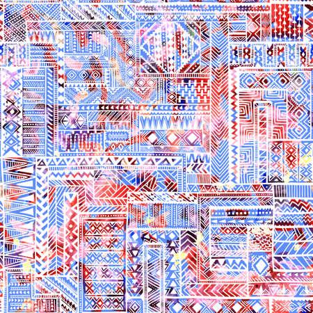 パッチワークのシームレスなパターン。水彩の明るい質感。青、白、赤の色。複雑な幾何学模様。民族・部族のモチーフ。