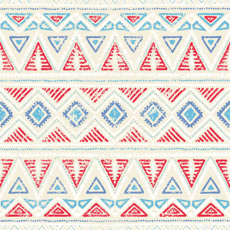 Seamless ethnic pattern. Ornament in tribal style. Grunge texture. Vintage print. Red, white and blue geometric elements. Vector illustration. Illustration