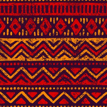 Motif géométrique sans soudure Motifs ethniques et tribaux. Texture grunge Imprimer pour vos textiles. Illustration vectorielle