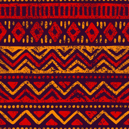 Seamless geometric pattern. Ethnic and tribal motifs. Grunge texture. Print for your textiles. Vector illustration. Imagens - 90222961