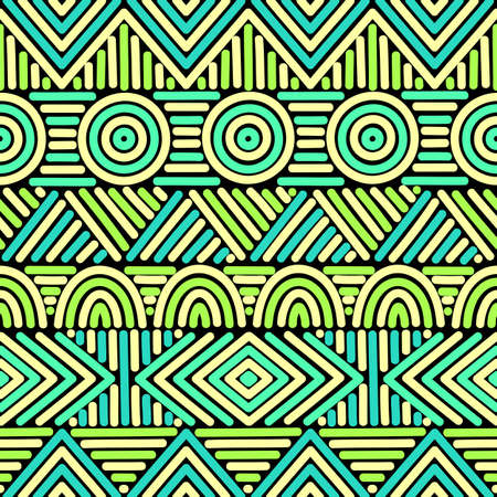 Seamless geometric pattern. Ethnic and tribal motifs. Horizontal stripes. Vector illustration.