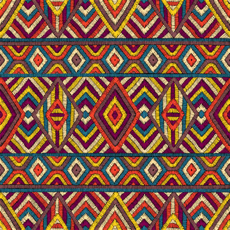 Embroidered seamless geometric pattern. Ornament for the carpet. Ethnic and tribal motifs. Colorful print of handmade. Vector illustration.