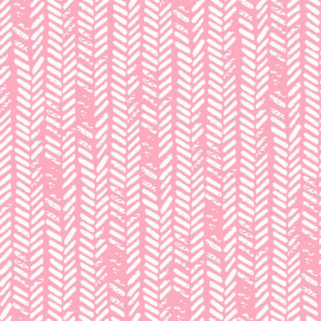 Cute seamless pattern. Pink and white colors. Grunge texture. Knitted ornament, braids, herringbone. Prints for textiles. Vector illustration.