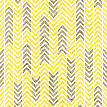 Seamless vintage chevron pattern. Grunge texture. Gray, yellow and white colors. Print with ornament in the form of a zigzag. Striped old wallpaper. Vector illustration.