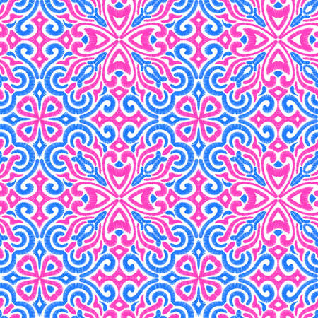 Seamless embroidered pattern. Prints for textiles. Ornament in a patchwork style. Pink, blue and white colors.