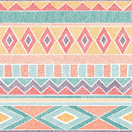 Embroidered ethnic seamless pattern. Aztec and tribal motifs. Striped ornament hand drawn. Print in the bohemian style. Vector illustration.