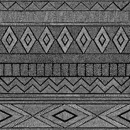 Seamless black and white pattern. Geometrical abstraction. Ethnic and tribal motifs. Striped print for textiles. Vector illustration hand-drawn. Foto de archivo - 114676835