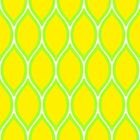 Simple seamless pattern. Summer wavy print. Yellow, white and green colors. Illustration