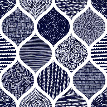Cute blue and white pattern. Summer print for textiles. Wavy ornament drawn by hand. Ilustração Vetorial