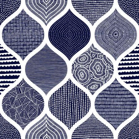 Lindo patrón azul y blanco. Impresión de verano para textiles. Adorno ondulado dibujado a mano. Ilustración de vector