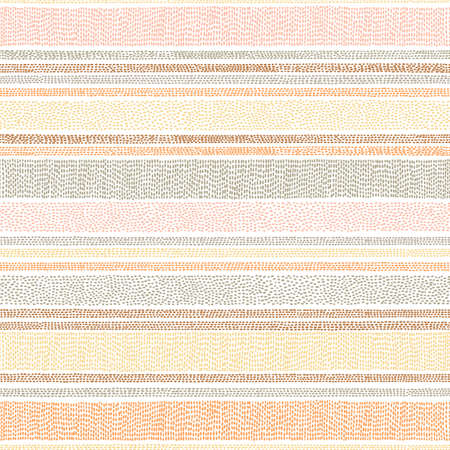 Cute striped pattern in polka dot. Seamless vintage doodle print for textile. Vector illustration.