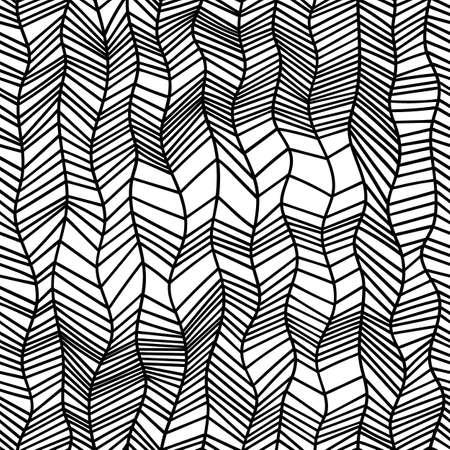 Patrón blanco y negro sin costuras en estilo doodle. Estampado ondulado, trenzas trenzadas. Ilustración de vector