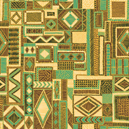 Seamless embroidered patchwork pattern. Ethnic and tribal motifs. Print for the carpet. Hand drawn ornament in doodle style.