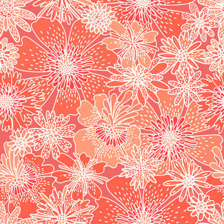 Decorative flowers seamless pattern. Print for textiles drawn by hand.