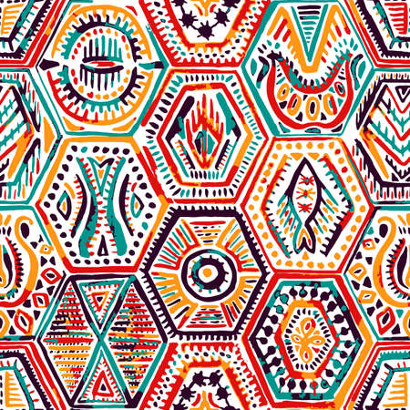 Seamless pattern in patchwork style. Ethnic and tribal motifs. Handwork.