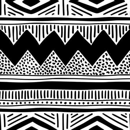 Seamless ethnic pattern. Handmade. Horizontal stripes. Black and white print for your textiles. Illustration