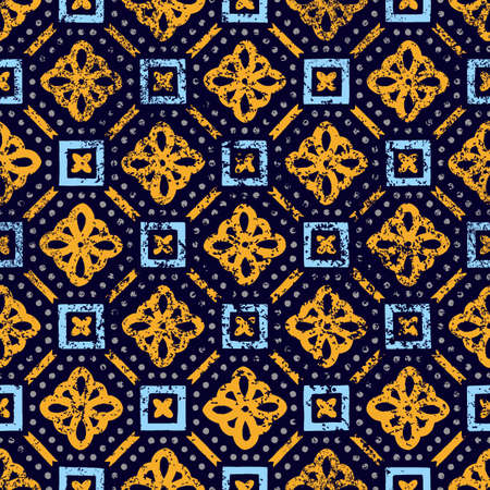 Seamless vintage pattern. Old shabby tile. Grunge print in blue and yellow shades. Illustration