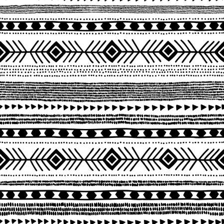 Seamless ethnic pattern. Handmade. Horizontal stripes. Black and white print for your textiles. 向量圖像