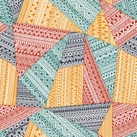 Seamless pattern in patchwork style. Ethnic and tribal motifs. A complex ornament drawn by hand. Doodle pattern from colorful triangles.