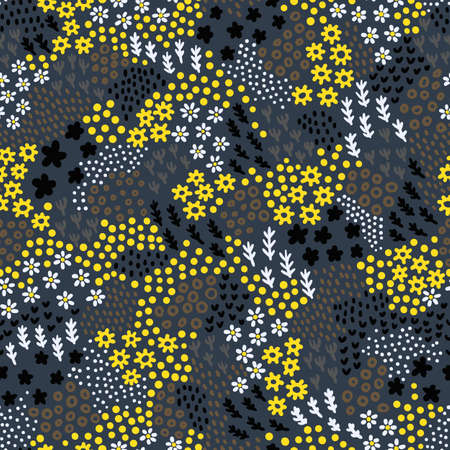 Cute vegetative seamless pattern. Print for textiles hand-drawn in the style of doodle. Tiny flowers, leaves, polka dot elements. Ilustração