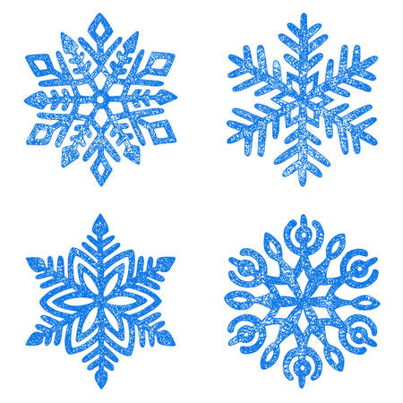 Set of snowflakes drawn in pencil. New Year and Christmas card. Grunge vintage texture. Cute winter print.