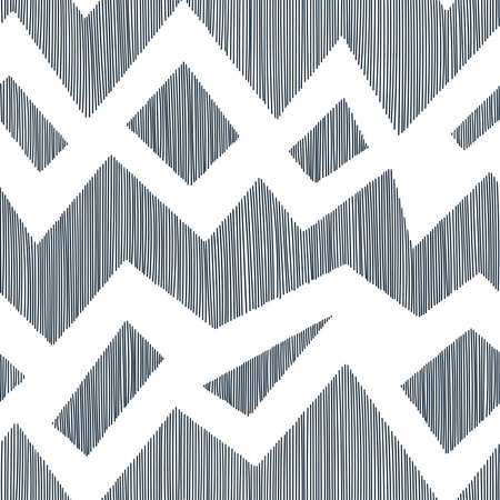 Simple seamless pattern in doodle style. Horizontal lines in zigzag. Wavy print for textiles.