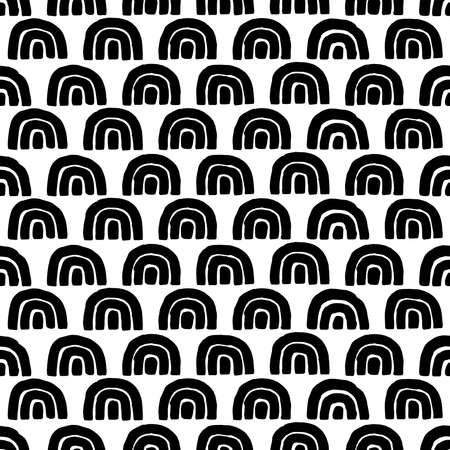 Cute seamless black and white pattern. Doodle style wavy print. Simple ornament for textiles, wrappers, packaging. Ilustração