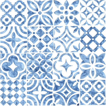 Seamless moroccan pattern. Square vintage tile. Blue and white watercolor ornament painted with paint on paper. Handmade. Print for textiles.