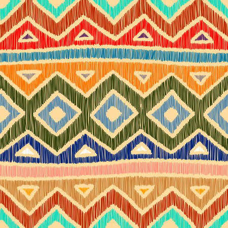 Embroidered ethnic seamless pattern. Aztec and tribal motifs.