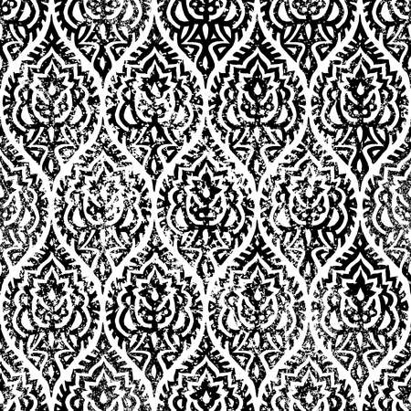 Black and white seamless pattern. Vintage print for home textiles. Ilustração Vetorial