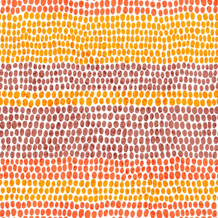 Striped seamless pattern in pointillism style. Horizontal lines, print polka dot for textile. Red, yellow, orange, violet and white colors.