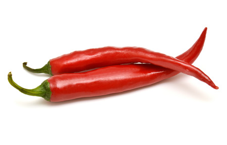 Red chili pepper isolated on a white background Stockfoto