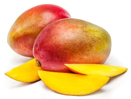 Mango sliced on a white background Фото со стока