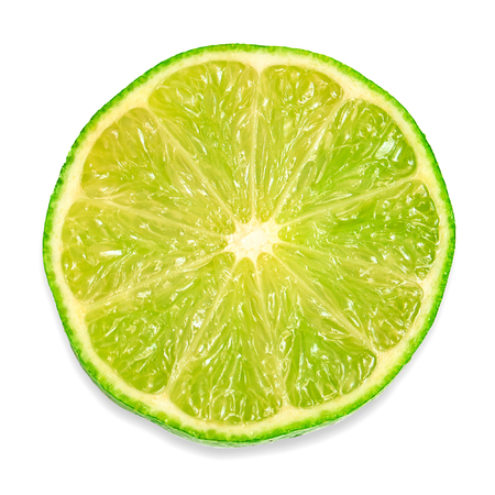 lime slice: Half of the fruit of lime isolated on white background Stock Photo
