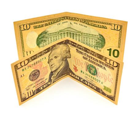 alexander hamilton: Dieci dollari fatture isolato su sfondo bianco