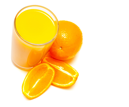 cantle: Orange juice in a glass and oranges isolated on white background