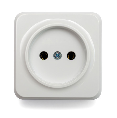 grounded plug: White outlet isolated on white background