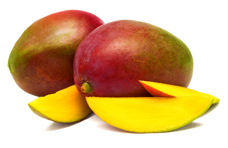 sliced fruit: Mango sliced on a white background Stock Photo